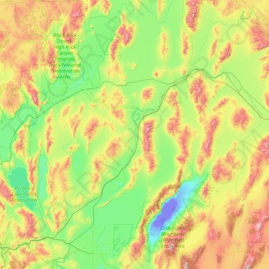 Pershing County topographic map, elevation, relief