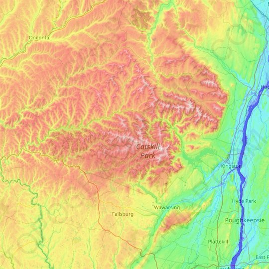Catskill Park topographic map, elevation, relief