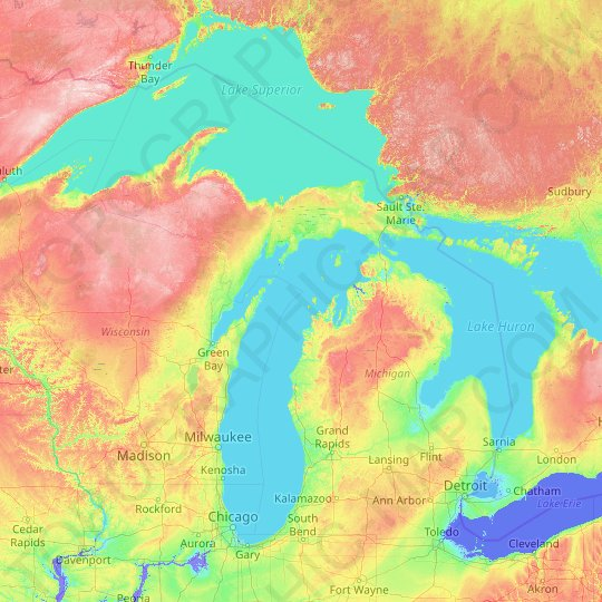 Michigan Topographic Map Relief Map Elevations Map
