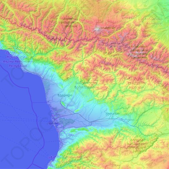 Samegrelo-Upper Svaneti topographic map, relief map, elevations map