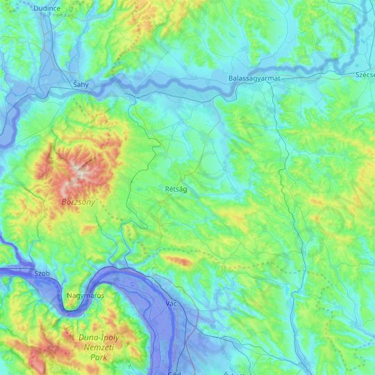 Nógrád topographic map, relief, elevation