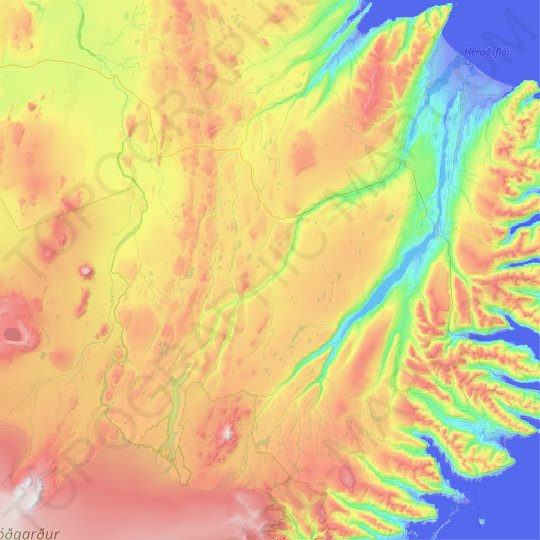 Fljótsdalshérað topographic map, elevation, relief