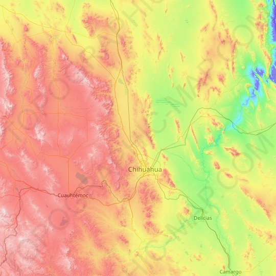 Chihuahua topographic map, relief map, elevations map