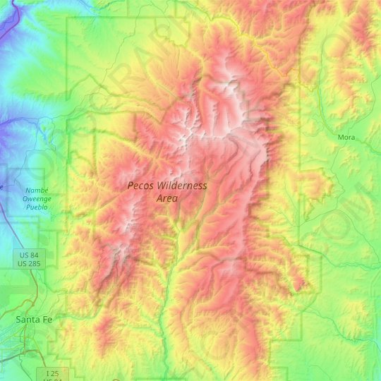 Pecos Wilderness Area topographic map, elevation, relief