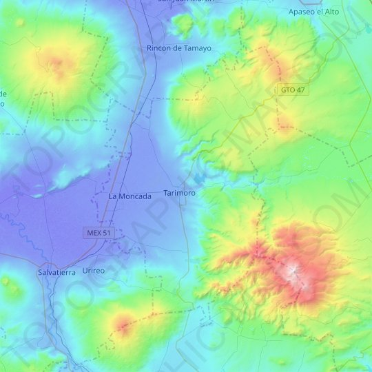 Tarimoro topographic map, relief map, elevations map