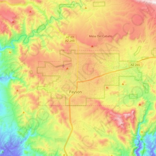 Payson topographic map, elevation, relief