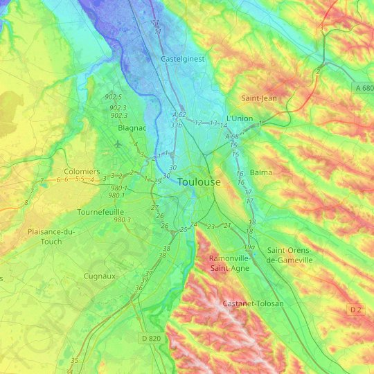 Toulouse topographic map, relief map, elevations map