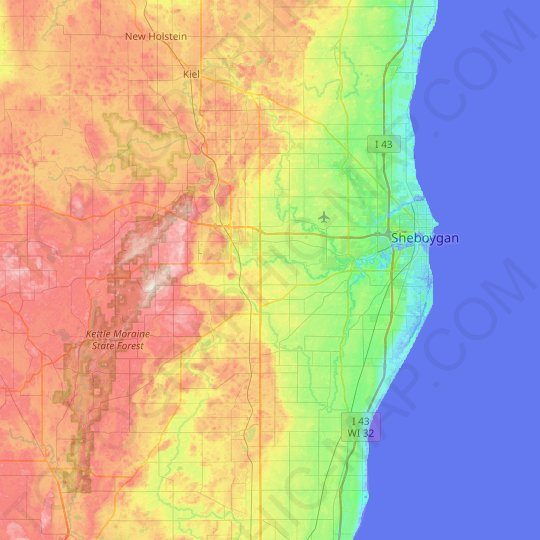 Sheboygan County topographic map, relief map, elevations map