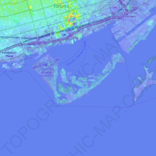 Toronto Island topographic map, relief map, elevations map