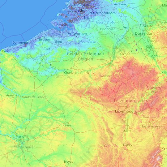 Wallonia topographic map, relief map, elevations map