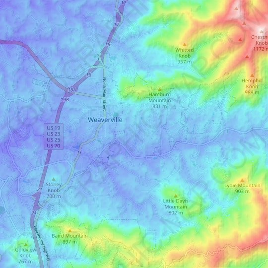 Weaverville topographic map, relief map, elevations map