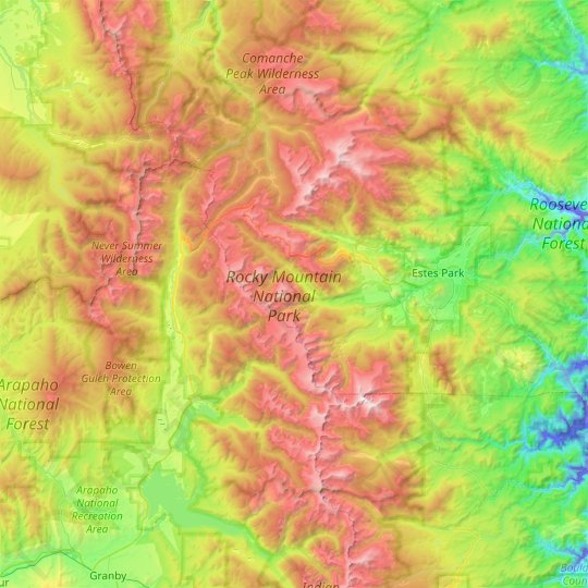 Rocky Mountain National Park topographic map, elevation, relief