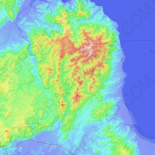 Hunua Ranges topographic map, relief map, elevations map