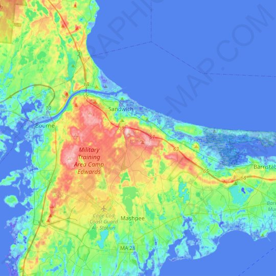 Sandwich topographic map, relief map, elevations map