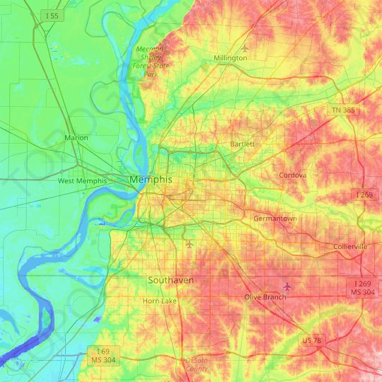 Memphis topographic map, elevation, relief