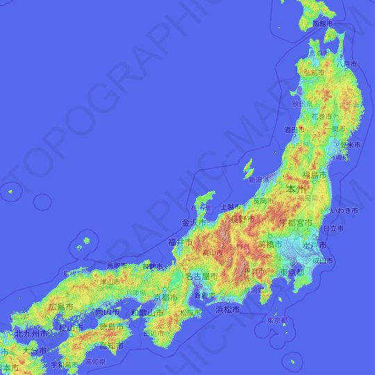 Honshu topographic map, relief map, elevations map
