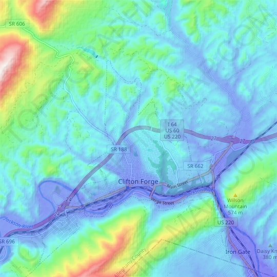 Clifton Forge topographic map, elevation, relief