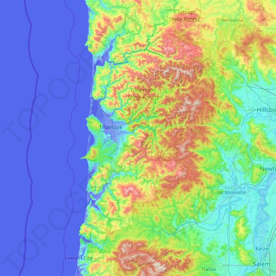 Tillamook County topographic map, elevation, relief