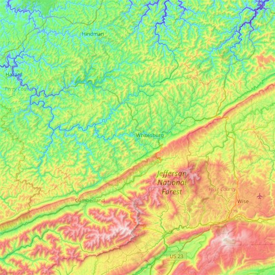 Letcher County topographic map, elevation, relief