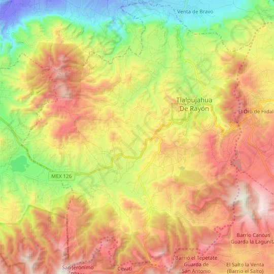 Tlalpujahua topographic map, relief, elevation