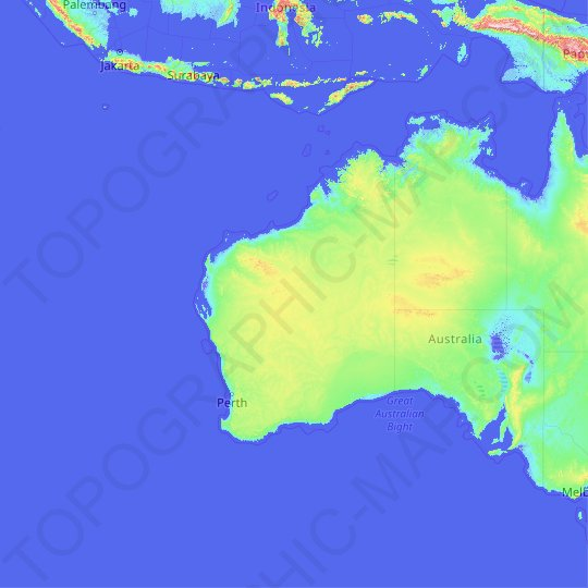 Western Australia topographic map, relief map, elevations map