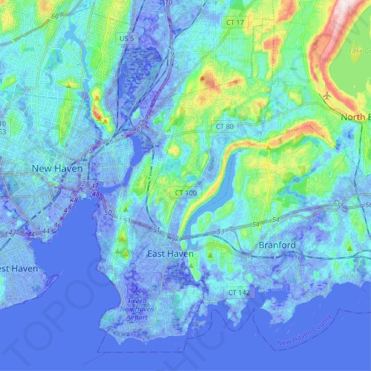 East Haven topographic map, elevation, relief