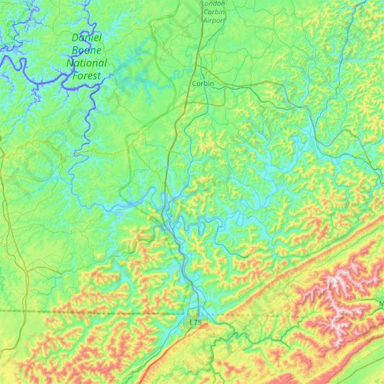 Whitley County topographic map, elevation, relief