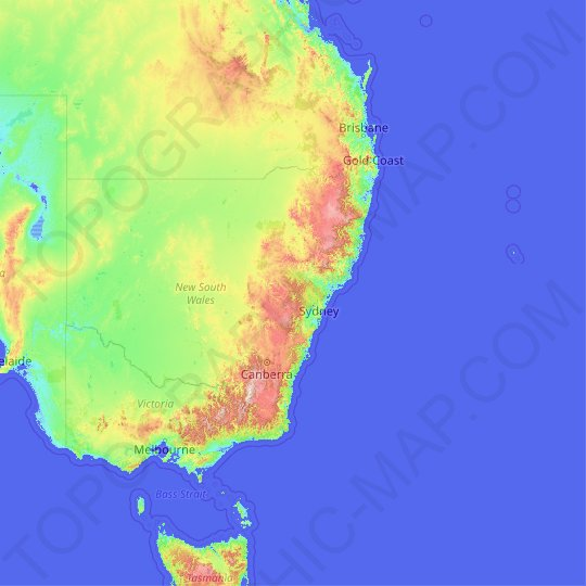 New South Wales topographic map, relief, elevation