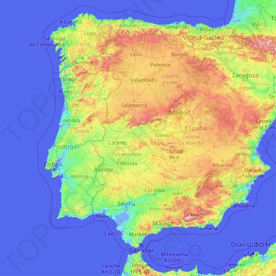 Tagus topographic map, elevation, relief