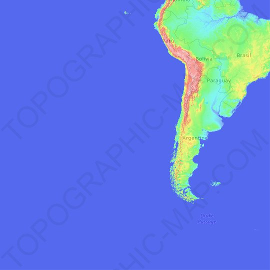 Chile topographic map, relief map, elevations map