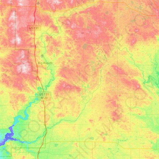 Mecosta County topographic map, elevation, relief