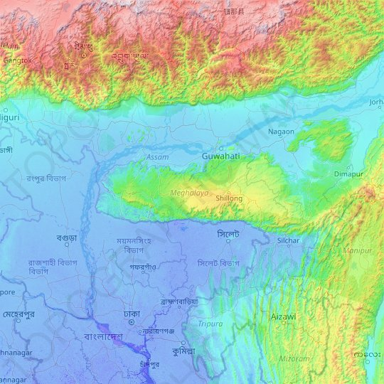 Meghalaya topographic map, relief map, elevations map