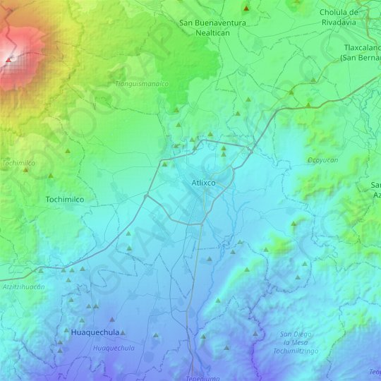 Atlixco topographic map, relief map, elevations map