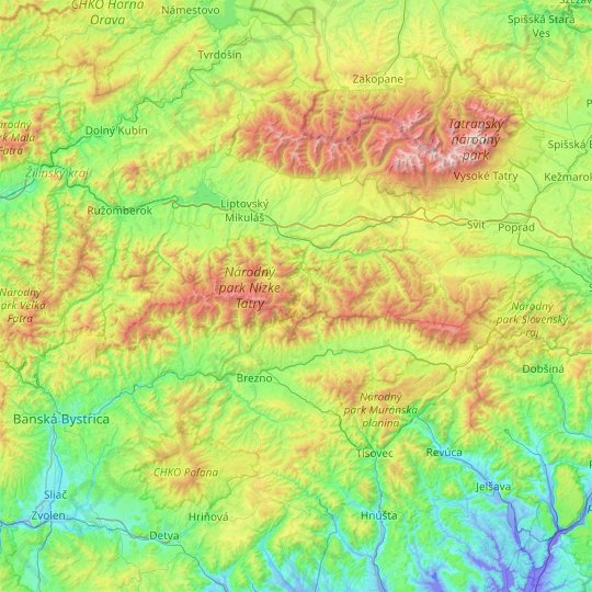 Low Tatras National Park topographic map, relief map, elevations map
