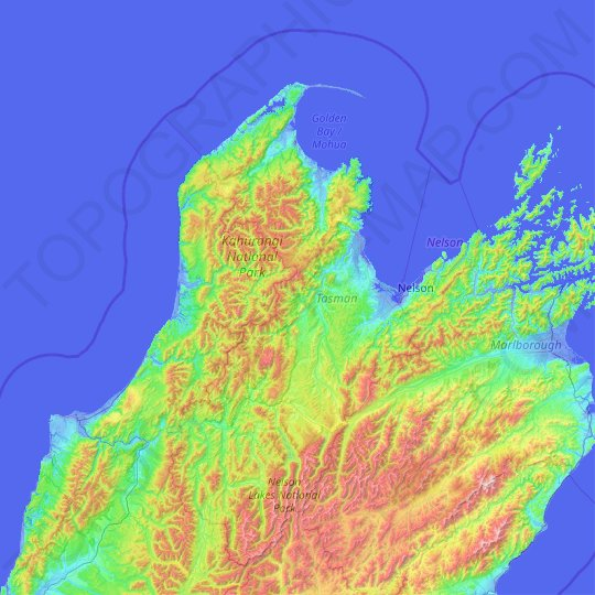 Tasman topographic map, relief map, elevations map