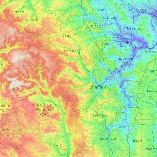 Sheffield topographic map, relief map, elevations map