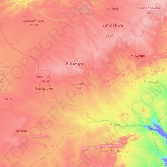 Matabeleland South topographic map, relief map, elevations map