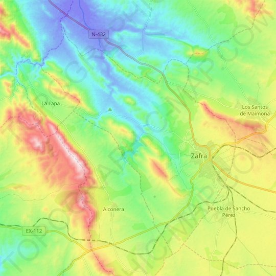 Zafra topographic map, relief map, elevations map