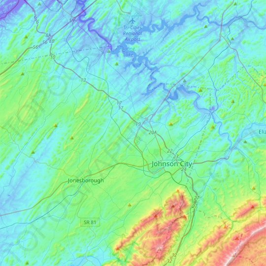 Johnson City topographic map, relief map, elevations map