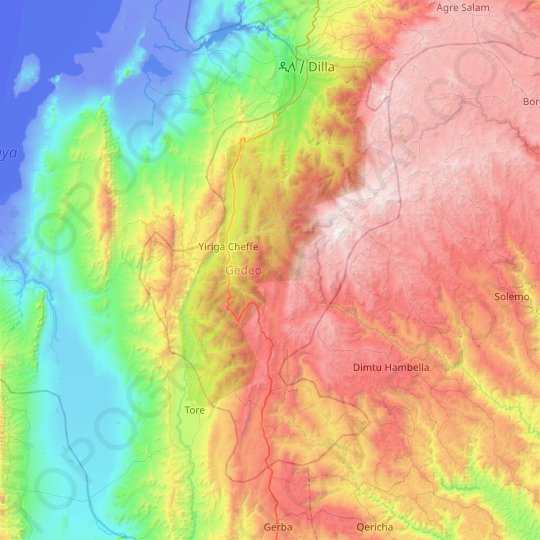 Gedeo topographic map, relief map, elevations map