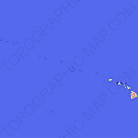 Hawaii topographic map, relief map, elevations map