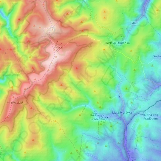 Malá Morávka topographic map, relief map, elevations map