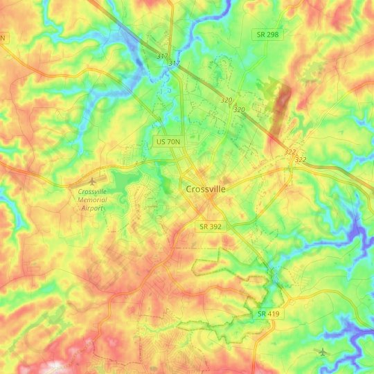 Crossville topographic map, elevation, relief
