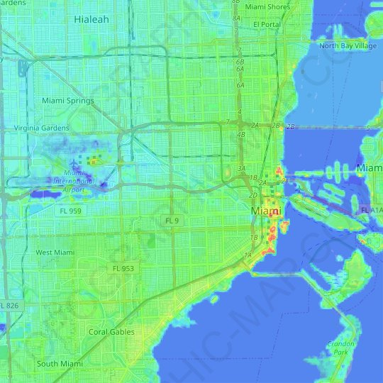 Miami topographic map, relief map, elevations map