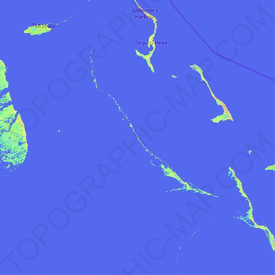 Exuma topographic map, relief map, elevations map