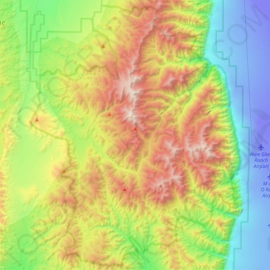 Arc Dome Wilderness Area topographic map, elevation, relief
