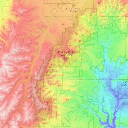 Bryce Canyon National Park topographic map, relief map, elevations map