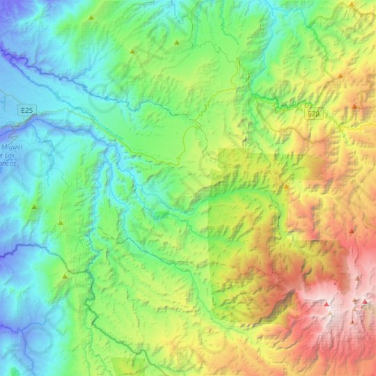 Mindo topographic map, relief map, elevations map