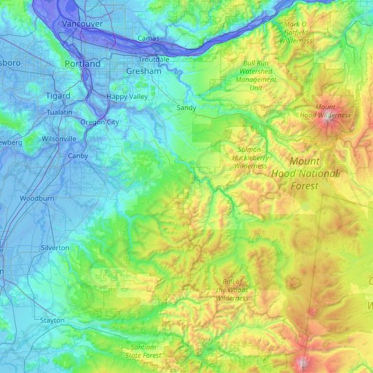 Clackamas County topographic map, relief map, elevations map