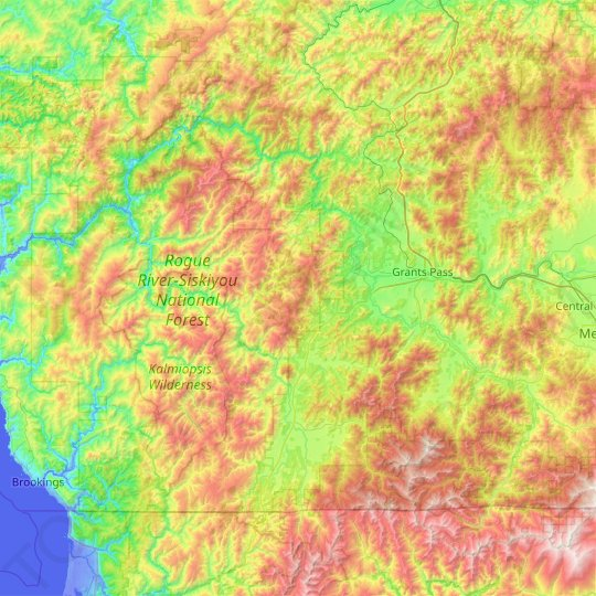 Josephine County topographic map, relief map, elevations map